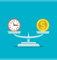 icon money coin and clock balance on scales vector image