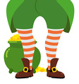 Leprechaun gold big pot of gold Leprechaun hides vector image