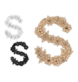 Letter S with vintage floral motifs vector image vector image