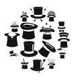 magician hat sorcery icons set simple style vector image vector image