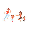 mother and their daughters doing sports together vector image