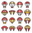 parachuting icons set flat vector image vector image