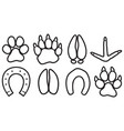 paw prints icons set vector image vector image