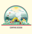 people camping in wild nature vector image vector image