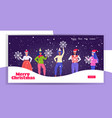 people in santa hats holding snowflakes merry vector image