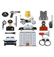 Police Decorative Flat Icons Set vector image vector image