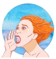 Portrait of a screaming young girl with tousled vector image