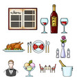restaurant set icons in cartoon style big vector image vector image