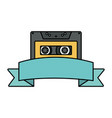 retro music cassette with tape frame vector image