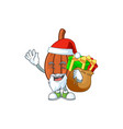 santa with gift cartoon choco with character vector image vector image