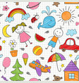 seamless pattern with colored kids drawings vector image