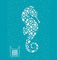 searhorse stop ocean plastic pollution concept vector image vector image