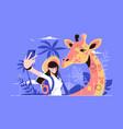selfie with giraffe vector image vector image