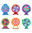 set of isolated wheels of fortune for casino vector image vector image