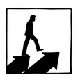 silhouette businessman walking on two arrow vector image vector image