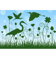 silhouette egret in meadow vector image