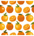 summer pattern with oranges flowers and leaves vector image