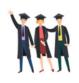 three college graduates in graduation caps gowns vector image