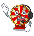 with headphone spinning wheel attached the cartoon vector image vector image