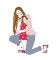 young redhead woman cuddle preschool girl mother vector image