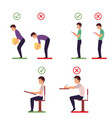 correct and incorrect back posture infographics vector image