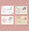vintage wedding postcard templates vector image