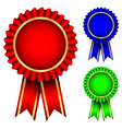 red blue and green badges vector image