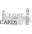 Advanced prepaid credit card features text word vector image