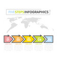 business infographics template timeline with 5 vector image vector image