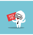 business man cartoon with pick me sign board vector image vector image