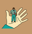 business men standing on palm hand vector image vector image