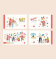 characters making and packing gift for holidays vector image
