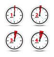 clock 1 2 3 4 minutes time icons vector image vector image