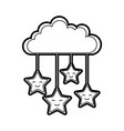 cloud sky with stars vector image vector image