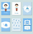 collection of cute baby boy card collection of vector image vector image