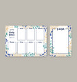 collection weekly planner with weekdays and to vector image