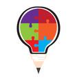 conceptual idea lightbulb with puzzle pieces vector image vector image