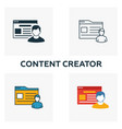 content creator icon set four elements in vector image vector image