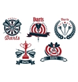 darts game icons with dartboard and arrows vector image vector image