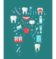 Dental icon set in tooth form flat style vector image vector image