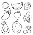doodle of fruit set hand draw vector image vector image