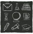 Education icons set on old black board vector image vector image