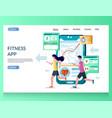 fitness app website landing page design vector image vector image