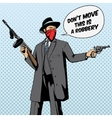 Gangster with gun robbery pop art vector image vector image