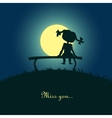 Girl sitting lonely in the moonlight vector image