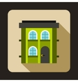 Green two storey house icon flat style vector image vector image