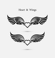heart logo with angel wings logo design vector image vector image