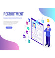 isometric hiring and recruitment concept for web vector image vector image