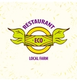 logo eco restaurant cafe local farm vector image vector image