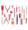 manicure equipment set collection different tool vector image